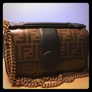 FENDI Double F Small Leather Shoulder Bag
